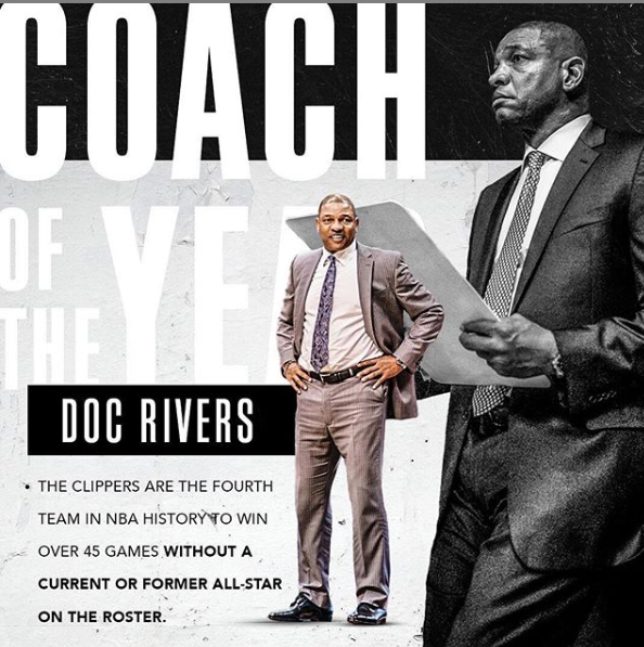 快船为里弗斯最佳教练造势:没有一名全明星却拿到48胜 NBA新闻 第2张