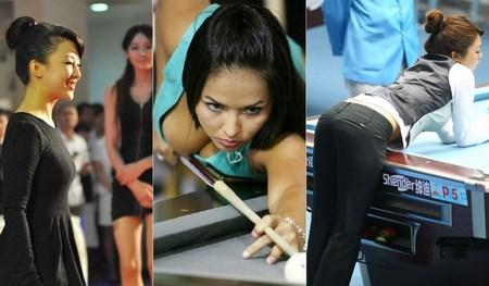 每逢女子台球比赛 美女选手总是最大的看点之一