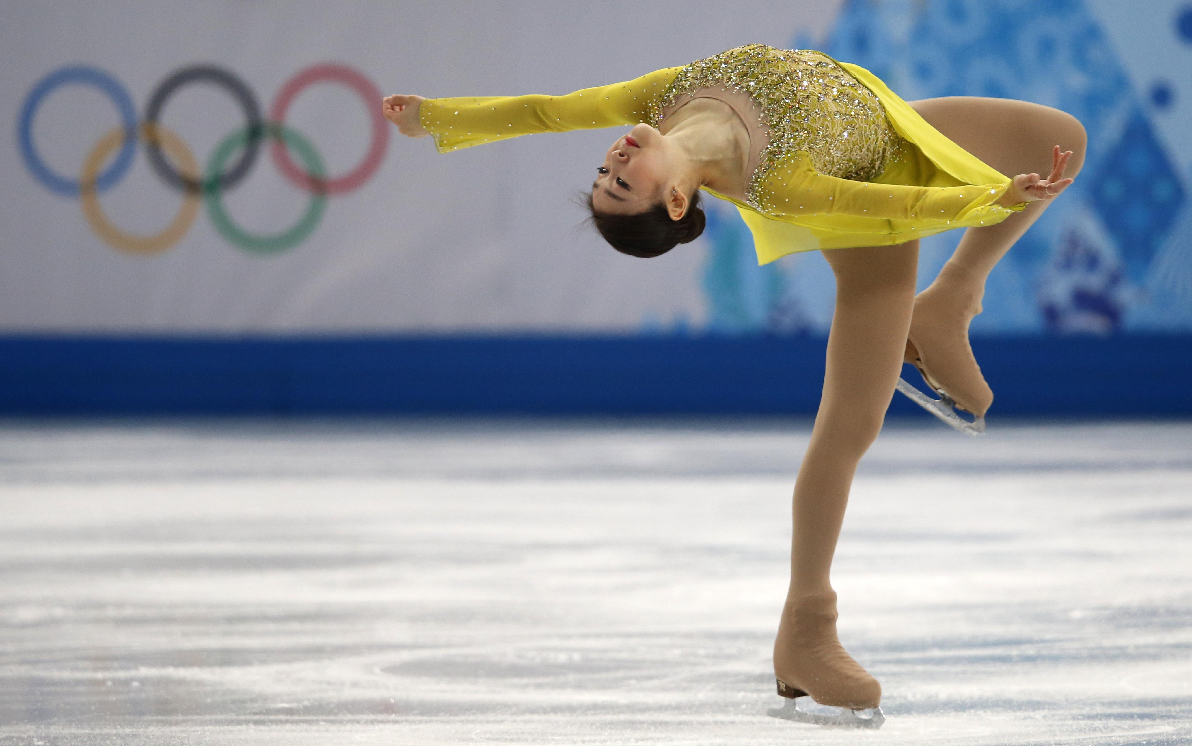 韩国金妍儿进行女子花样滑冰短节目比赛中