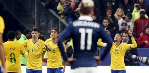 Oscar Neymar meritorious deeds, Brazil 3-1 reverse in France