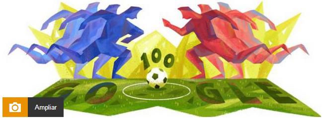 谷歌为庆祝百年美洲杯发布新涂鸦
