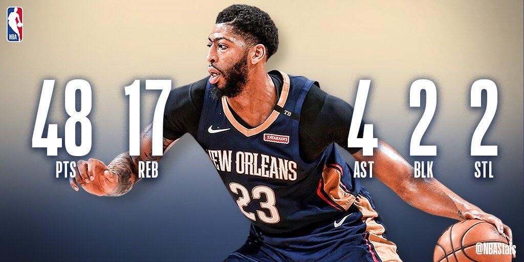 [虎]NBA官方评选今日最佳数据:戴维斯48+17+4当选