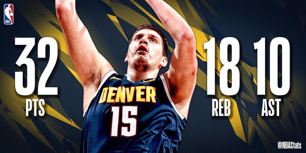 NBA官方评选今日最佳数据:约基奇砍32+18+10成功当选
