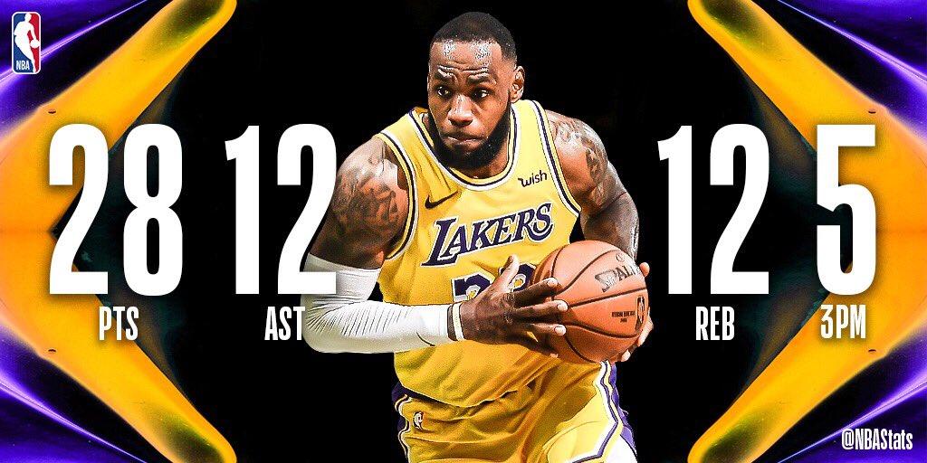 NBA官方评选今日最佳数据:詹姆斯28+12+12当选