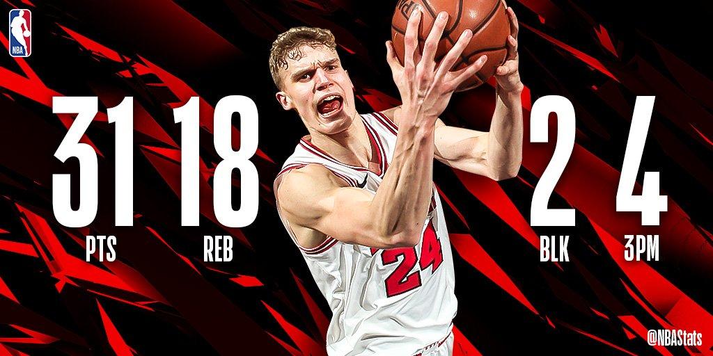 NBA官方评选今日最佳数据:马尔卡宁31+18成功当选