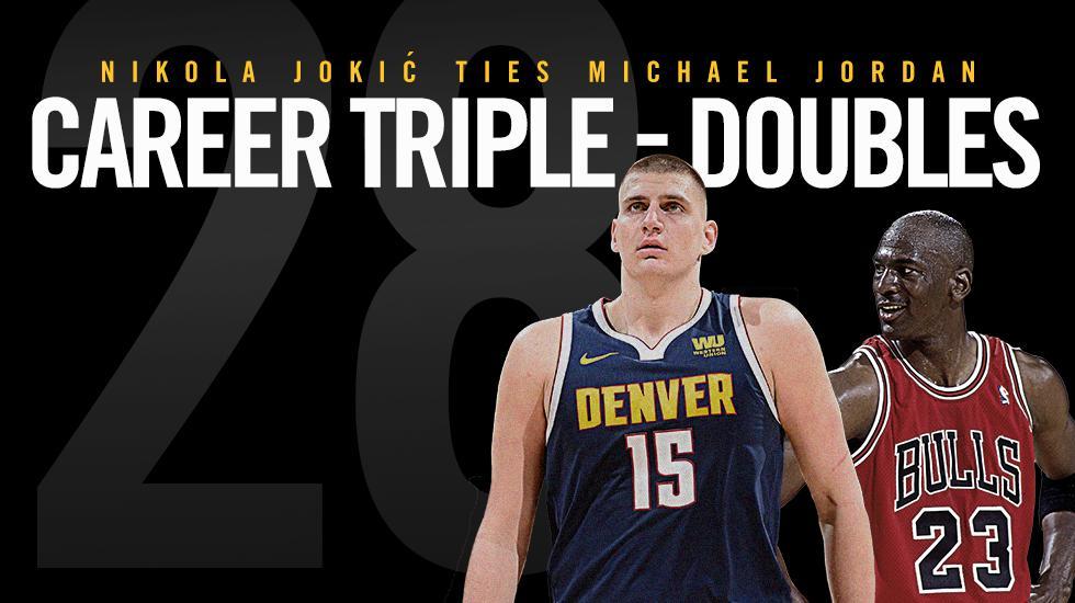 掘金官方祝贺约基奇三双数追平乔丹:罕见的球员 NBA新闻