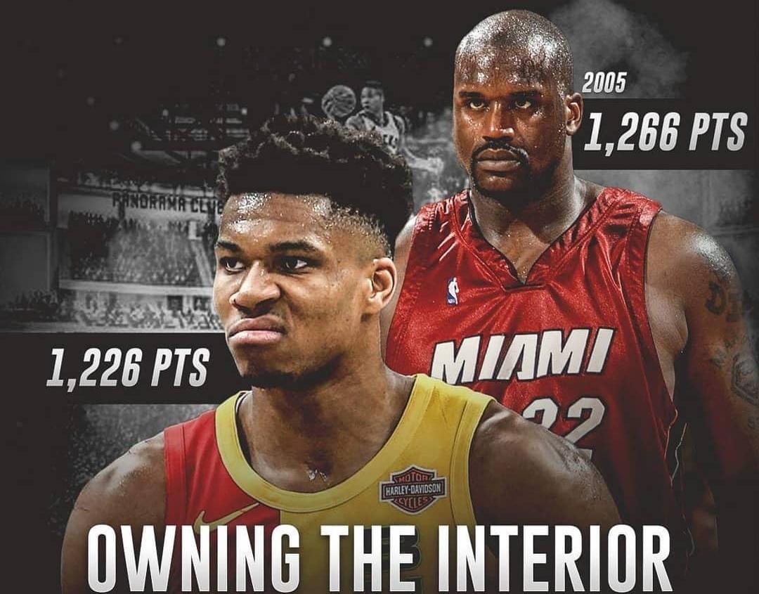 字母哥本赛季禁区得分达1226分,05年奥尼尔后首人 NBA新闻