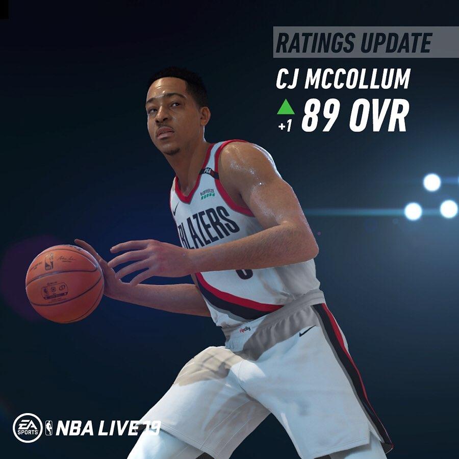 NBALIVE19能力值更新:麦科勒姆89,杜兰特96