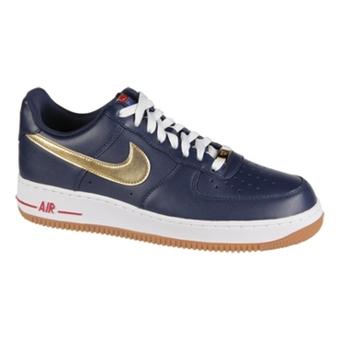 Nike Air Force 1深紫蓝/金色/运动红