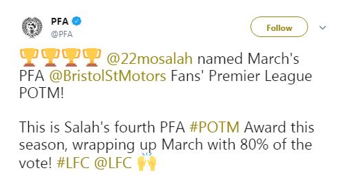 官方:萨拉赫当选PFA英超3月最佳球员