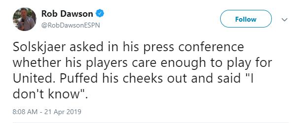 记者提问球员是否足够关心曼联,索帅回答:我不知道