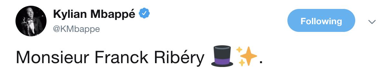 姆巴佩致意前辈里贝里:向你脱帽致意!