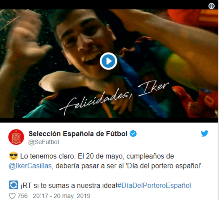 西班牙足协官推:5月20日应该成为西班牙门将日
