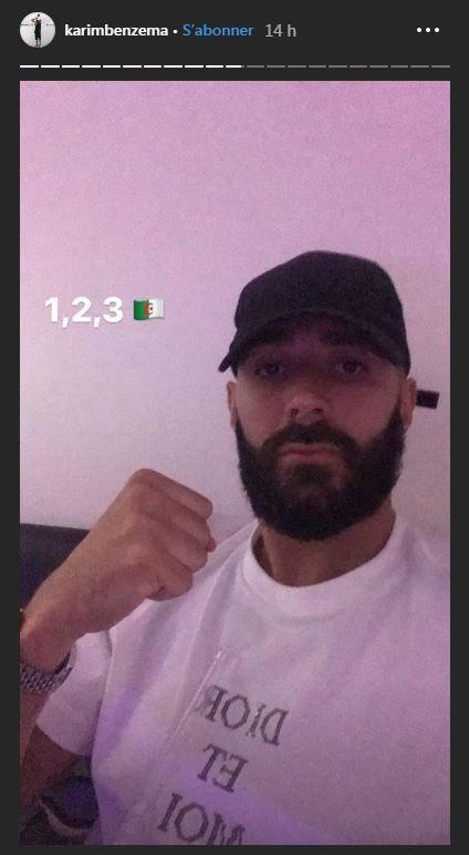 为祖国加油,本泽马在社媒上晒图为阿尔及利亚国家队打气