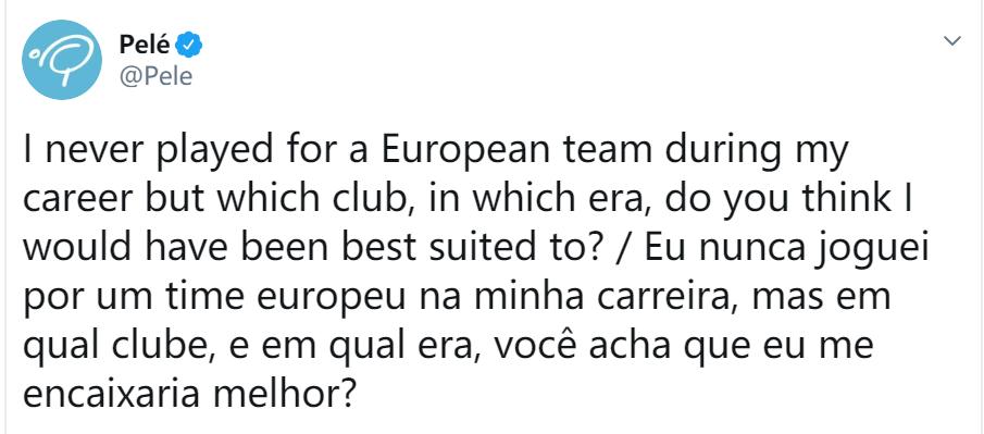 贝利推特发问:哪一时期的哪家欧洲球队最适合我呢?