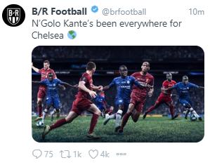 足球世界:B/R发图盛赞坎特:今夜坎特在球场上无处不在