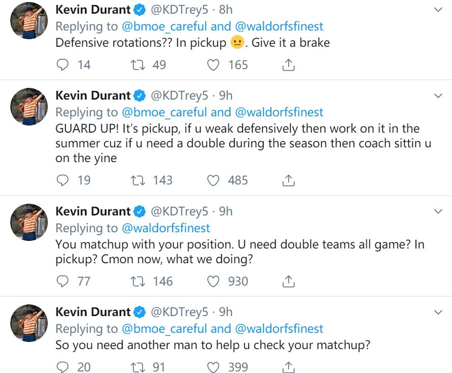 连珠炮!杜兰特连发十余条推特与网友就布克包夹进行热议