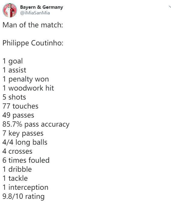 [数据板]表现完美,酷鸟一传一射且打进拜仁首球