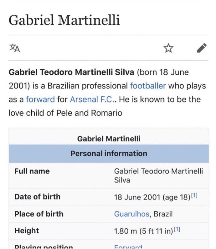 球迷改马丁内利维基百科页面:他是贝利和罗马尼奥的结晶