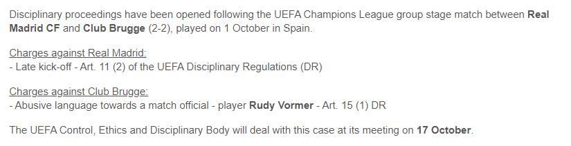 官方:欧足联将对皇马vs布鲁日一战推迟开球进行调查