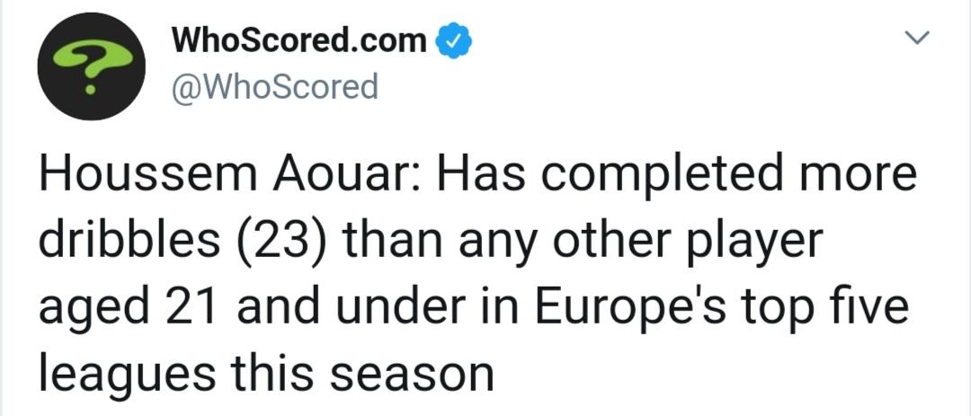 [数据板]里昂新星!阿瓦尔在21岁及以下球员中过人最多