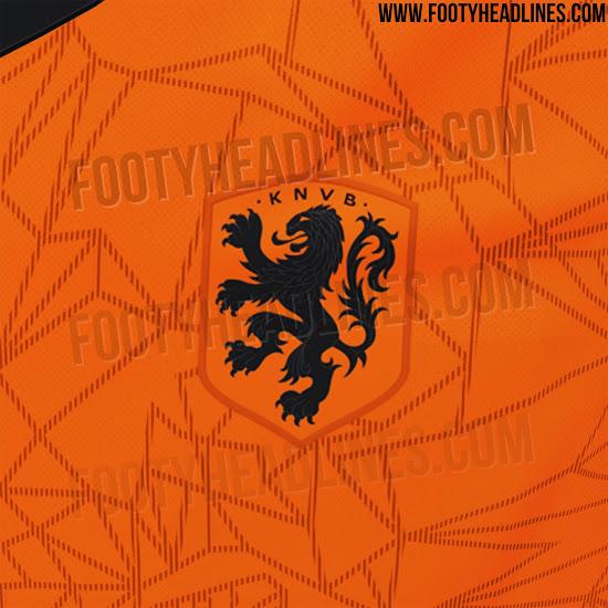 荷兰2020年欧洲杯球衣谍照:橙色雄狮绘于胸前