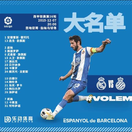 皇家马德里vs西班牙人大名单:武磊继续入选