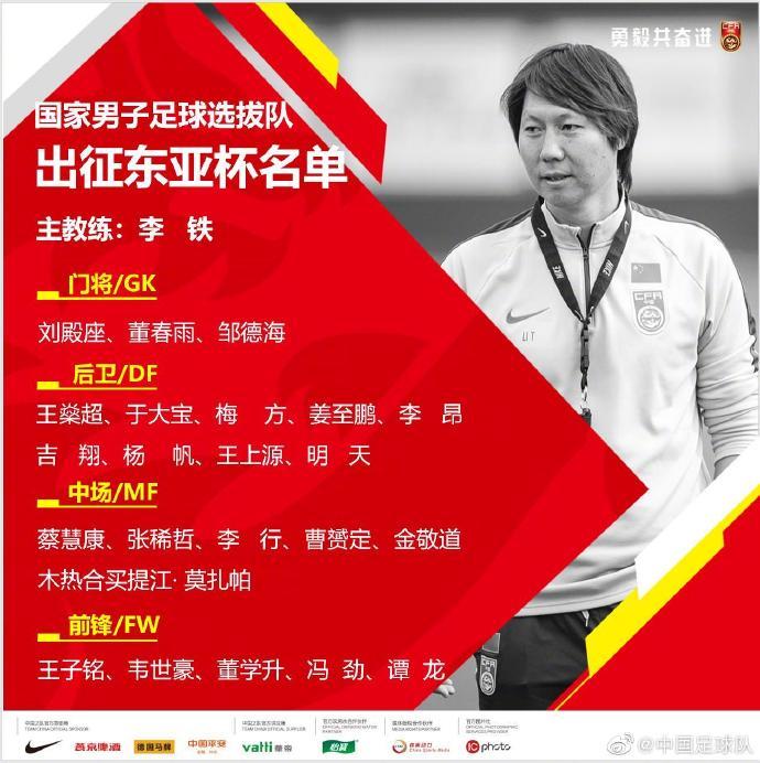 国足官方正式公布东亚杯23人大名单:曹赟定、韦世豪入选