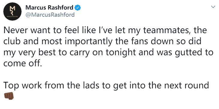 拉什福德:最不想让球迷失望,已尽最大努力坚持比赛
