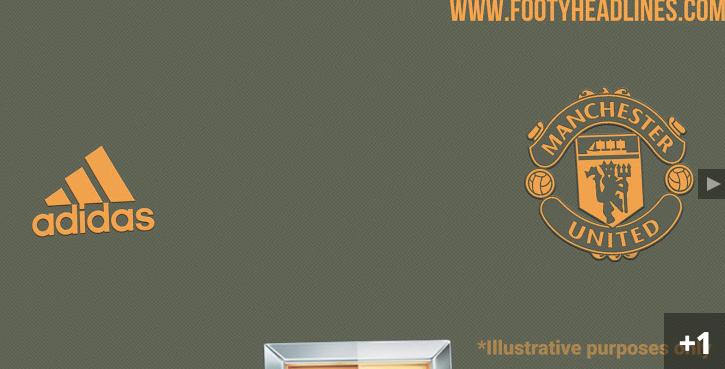 曼联下赛季客场球衣设计图曝光:军绿镶金黄