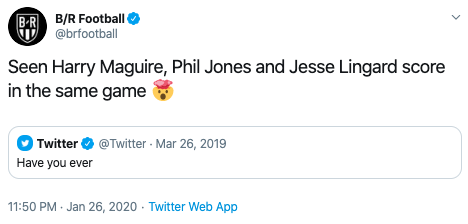 B/R玩梗:你见过马奎尔、琼斯和林加德同场进球吗?