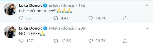 东契奇连发两条推特祈祷科比:求你!这别是真的