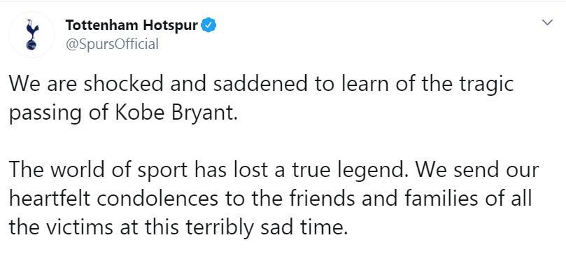 热刺悼念科比:体育界失去了一位真正的传奇