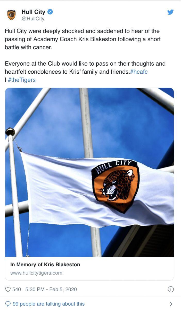 RIP!赫尔城青训教练布莱克斯顿因癌症去世