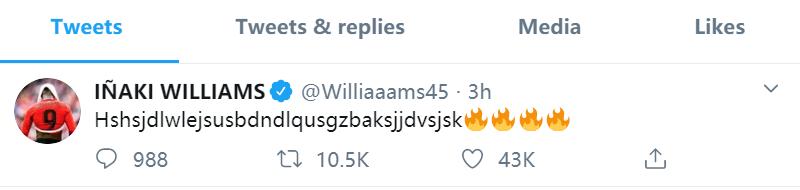 可把你给激动的!威廉姆斯绝杀巴萨后发推打出一行乱码