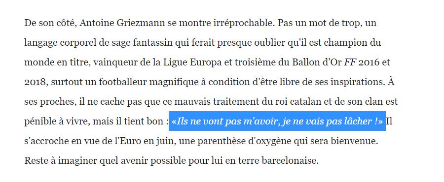 格列兹曼否认采访中抱怨梅西,并要求删除直接引语部分