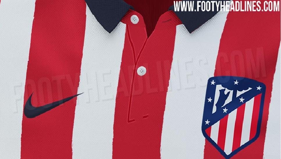 马竞下赛季主场球衣曝光:经典红白箭条,藏蓝色翻领设计
