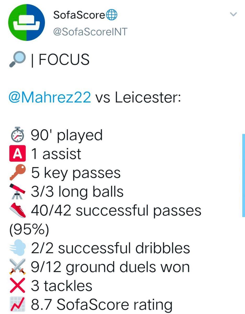 [数据板]全场最佳!马赫雷斯助攻+5关键传球助曼城取胜