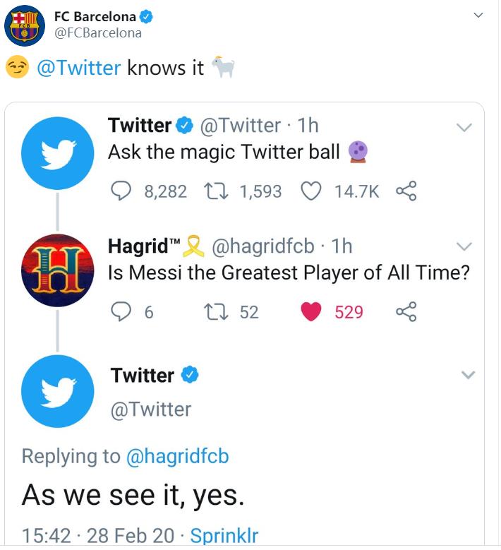 官方吹!球迷提问梅西是不是史上最佳球员?推特官方:是的