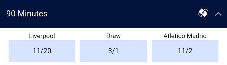 欧冠赔率:利物浦主让一球优势明显,晋级赔率