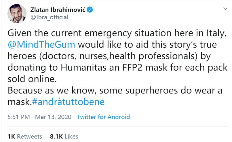 伊布表示与自己合作的公司每卖一盒口香糖,就捐一只口罩