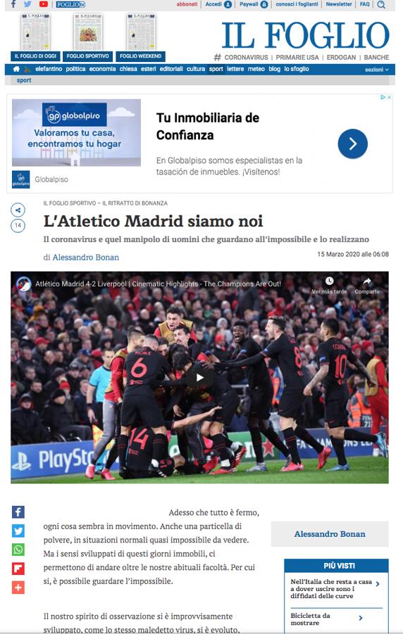 意大利报纸:抗击疫情,我们要像马竞一样筑起铜墙铁壁