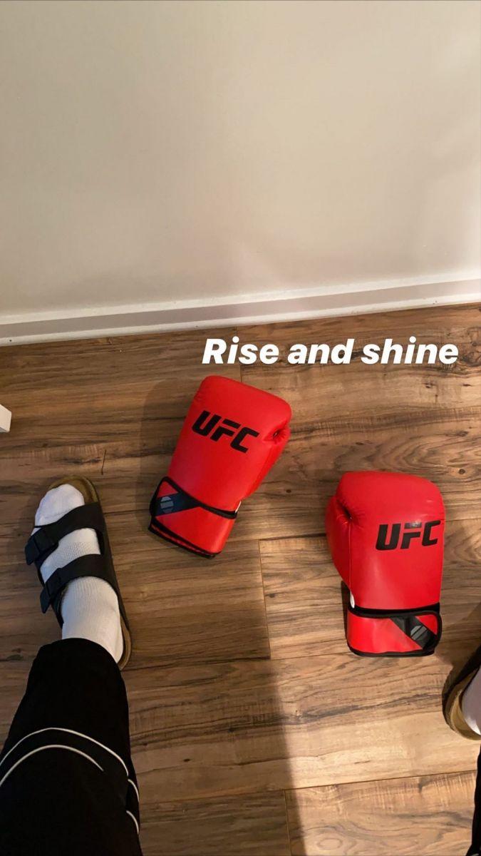 转型格斗?库兹马晒UFC拳击手套:日出闪耀