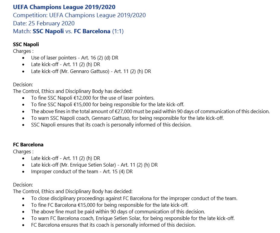 官方:巴萨与那不勒斯因未按时开球被欧足联罚款1.5万