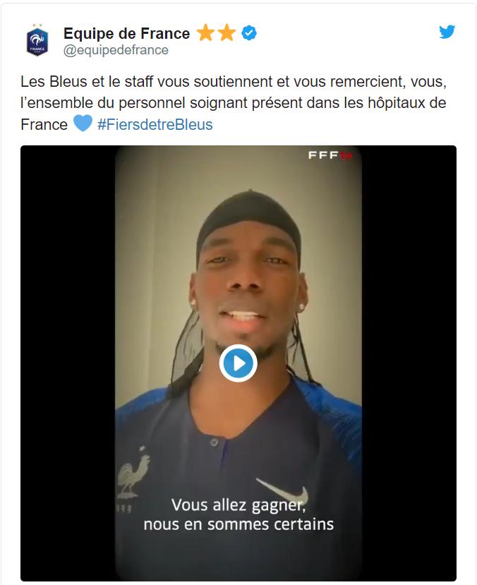 暖心之举,法国国家队通过视频向医护人员表达敬意和支持