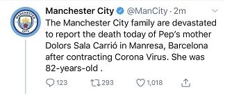 曼城官方:瓜迪奥拉母亲因新冠病毒去世