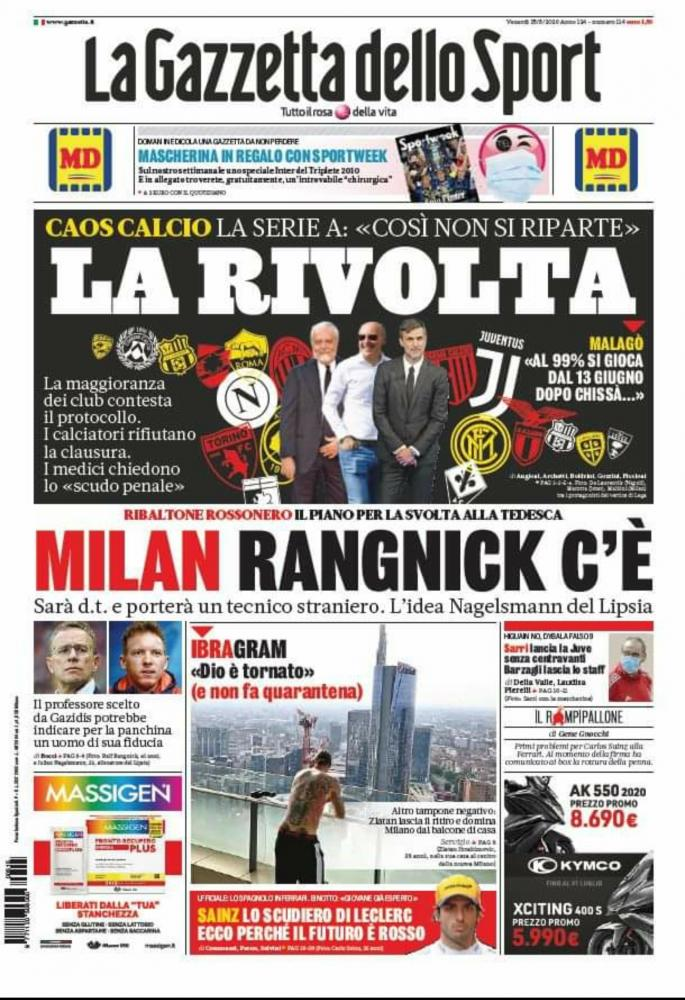 米体头版:朗尼克将出任米兰总监,纳格尔斯曼可能成新帅
