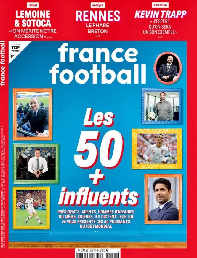 《法国足球》评最具影响力足坛人物:C罗第二梅西第七