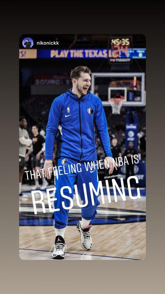 开怀大笑!东契奇转发个人照分享NBA复赛之喜悦心情