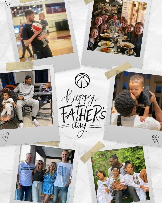 奇才、篮网、勇士、灰熊和活塞官推:祝所有父亲节日快乐!